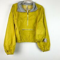 Free People Moonlight Women's Large Yellow Reflective Jacket Pullover Cropped