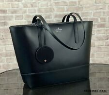 KATE SPADE NEW YORK BRIEL LEATHER LARGE TOTE SHOULDER BAG $329 Black