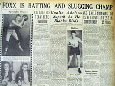 1933 headline newspaper Jimmie Foxx Wins Al Batting average and slugging titles