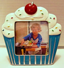 """2x2"""" Cupcake Place Card Holder or Picture Photo Frame Blue Red White"""