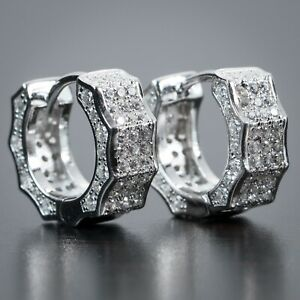 White Gold 925 Sterling Silver Men's Lab Simulated Diamond Iced Hoop Earrings