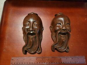 2 Vintage Oriental Wood Hanging Mask