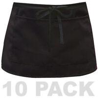 10 Pack Half Size Bib Waist Apron Bistro Bar Cafe Pub Waiter Waitress - BLACK