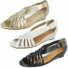 Ladies Van Dal Open Toe & Size Buckled Wedge Leather Strappy Sandals Lucie