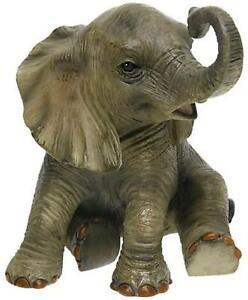 Sitting African Elephant Calf Resin Figurine Decorative Wild Animal Ornament