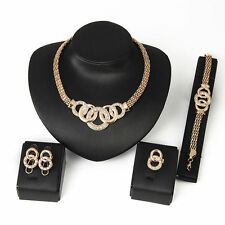 cheap and fine 18K Gold Plated Necklace Earring Bracelet Ring Jewelry Set ziron