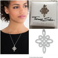 Genuine Thomas Sabo Sterling Silver Pave Love Knot Pendant In Gift Box