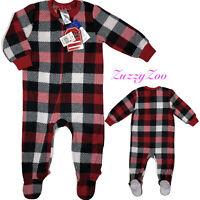 Holiday#FarmJams Buffalo Plaid Fleece One Piece Footed Pajama Sz 9/12M Boy/Girl