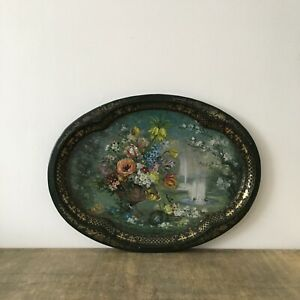 """Vintage Large Chatsworth Metal Tin Tray """"Spring"""" by Patricia Machin Green Floral"""