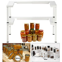 2 Sets Stackable Cabinet  Organizer Expandable Spice Rack for Kitchen-White