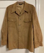Vintage Halston 'Halsuede' Flap Chest Pocket L/S Button Down Jacket Men Sz 44!