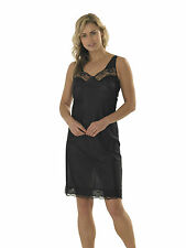 2 Pack Womens Anti Static Full Slip Underskirt Built up Shoulder With Lace 26 Black