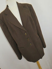 Escada Men's Blazer Sport Coat Brown Pinstriped Jacket 99% Wool Size 44