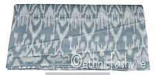 Cotton Grey Ikat Fabric Indian Hand Block Print Sewing Material Craft 1 Yard