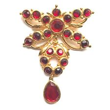 GEOGE RECH GOLD RED CRYSTAL PARIS COUTURE DESIGNER BUTTERFLY LARGE BROOCH PIN
