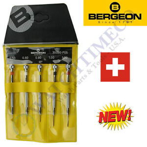 Bergeon 30080-P05 (Replaces # 2868) Set of 5 Watchmaker's Chromed Screwdrivers