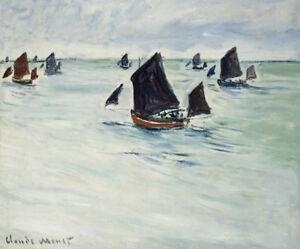CLAUDE MONET Fishing Boats on Large De Pourville PRINT various SIZES, BRAND NEW