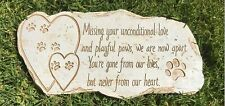Paw Print Pet Memorial Stone - Features Sympathy Poem - Indoor Outdoor Dog or...
