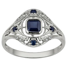 Beautiful Simple Jewelry 10k White Gold Vintage Style Sapphire Rings size 8