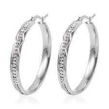 Hoops Fancy White Crystal Fashion Hoop Earrings for Women Hypoallergenic Steel