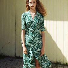 Womens French style Flower Print Dress Sexy V-neck Vintage ladies Slim Dress