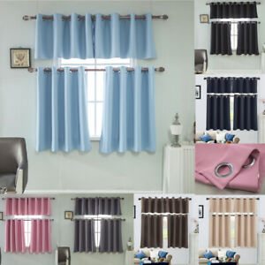 Ring Top Thermal Insulated Blackout Small Window Curtain Blinds Bedroom Kitchen