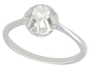 Vintage Diamond and 18k White Gold Solitaire Engagement Ring - Circa 1940