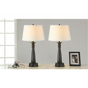 28 inch Antique Bronze Finished Table Lamp, Handpainted Gold Tracing (set of 2)