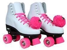 Epic Skates Cheerleader Indoor/Outdoor Quad Roller Skates, White/Pink Size 4