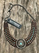 LEATHEROCK Swarovski Crystal & Leather Collar Stud Necklace Brown / NWT