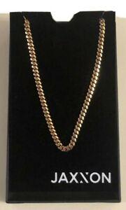 Jaxxon Men's 5mm Cuban Link Chain 925 Sterling Silver Gold Bonded