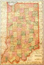 Beautiful Original 1899 Indiana Large Color Map/10x14