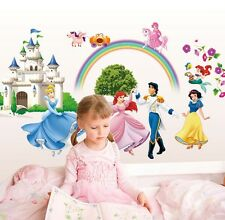 Lovely Princess Castle Rainbow Wall Sticker Vinyl Art Decals Mural Room Decor