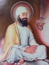 Vintage Sikh Religious SRI GURU TEGH BAHADUR Litho Print unframed C 1950 Rarts