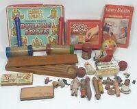 Vintage Toys Bundle 1963 Tiddlywinks, Wooden Blocks, Wooden Pencil Case & Misc +