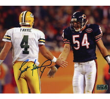 Brett Favre Signed Green Bay Packers 8x10 Photo - Blue Ink With Urlacher