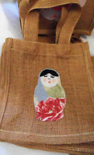 Handmade Burlap Small SHOPPER Tote BAG w/ Cath Kidston? Fabric, Babushka, London