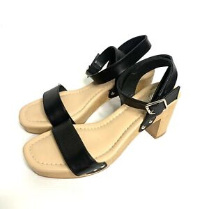 """Wittner Womens Black Strappy Wedge Heels """"cloggy"""" All Leather - Size 40"""