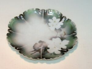 DECORATIVE CHINA PLATE GREEN WITH WHITE FLOWERS AND SOME GOLD R S FROM PRUSSIA