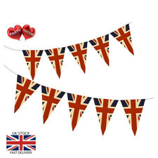Vintage British Union Jack Themed Party Festival Bunting Banner 15 Flags 10m