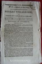 LA FEUILLE VILLAGEOISE N°26 - 29 Avril 1809