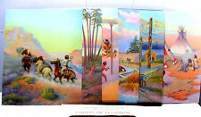 6pcs~*LONE WOLF*INDIANS OF YESTERDAY* LAMINATED ARTWORK/PICTURES/LITHOGRAPHS