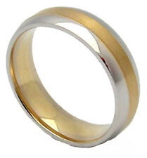 WOMENS GOLD WEDDING BAND TWO-TONE PUFFY CUT POLISHED Size 7 6.2 grams