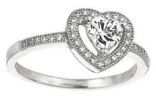 .925 Sterling Silver Double Heart Diamond Ring 0.05ct Size 7