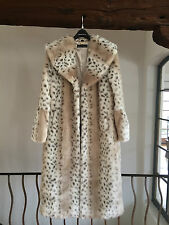 PAMELA MCCOY Couture Faux Fur Natural Full Length White Spotted Leopard XS NWT!