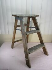 Vintage Wood Wooden 2 Step Ladder Rustic Primitive Farm Country Plant Stand (a)