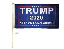 5' Wood Flag Pole Kit Wall Mount Bracket 3x5 Trump Blue 2020 Keep America Great!