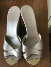 Beautiful Jimmy Choo Pandora Wedge Sandal Slide Metallic Nude size 39 RRP $460!