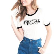 STRANGER THINGS T-shirt Tees Cotton Fashion Women's Short Sleeve White Top AU