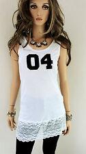 Rinascimento mujer top viscosa m L 38 Blanco Con Encaje Camiseta Top Largo
